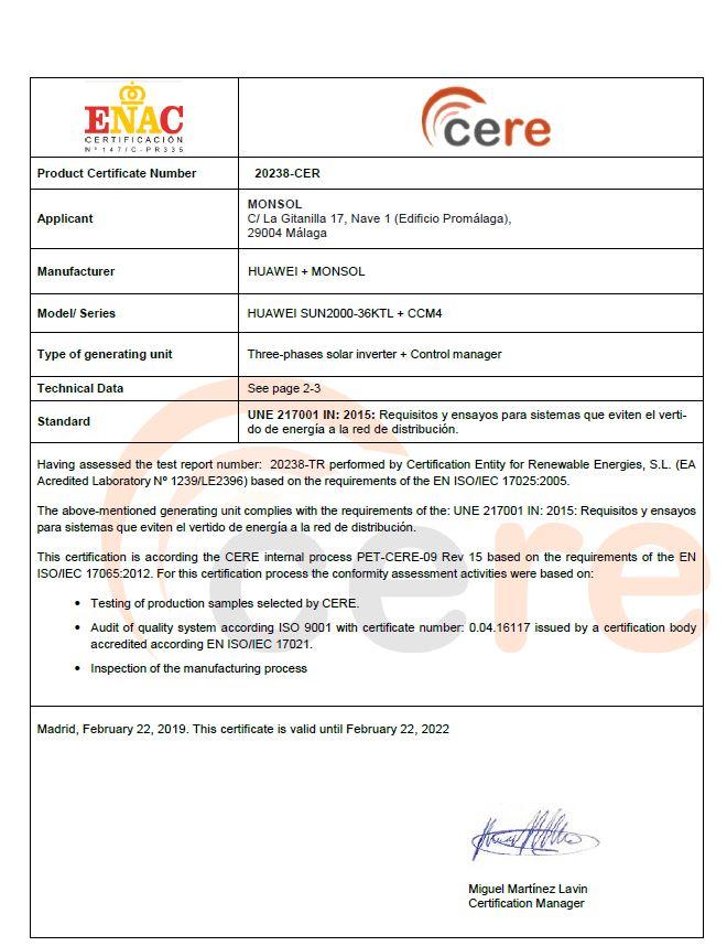 Certificado 20238 HUAWEI